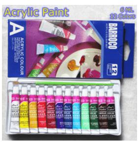 Tintas, acrílicas, lápis coloridos, canetas variadas, telas, pincéis e mais.